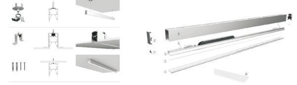 Suspending, recessed and surface mounted all available